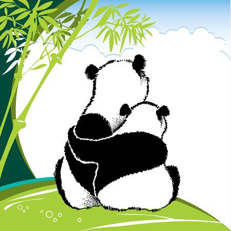 bearcat: Illustration of panda couple in love sitting on the grass