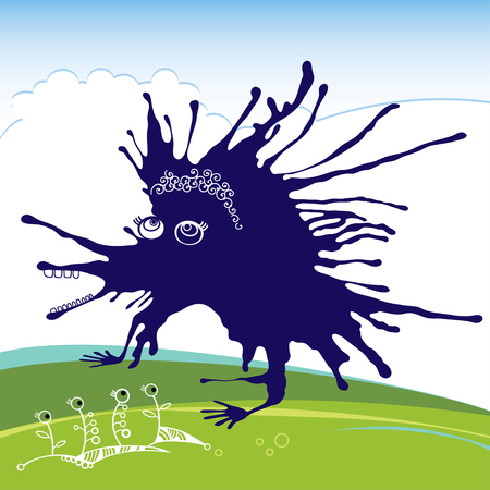 Blue funny monster Vector