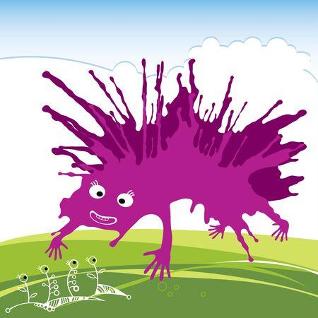 funny monster: Purple funny monster