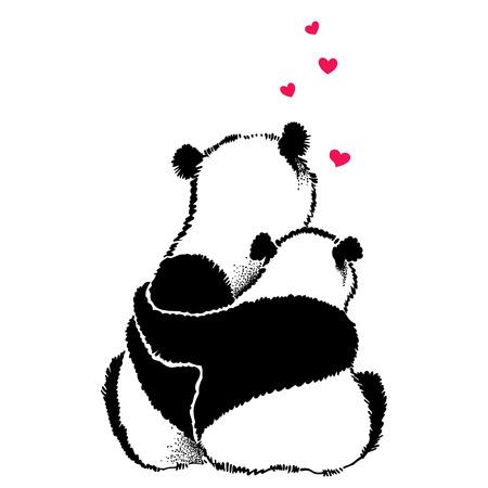 Dibujado a mano ilustración de pareja de pandas en el amor Vectores