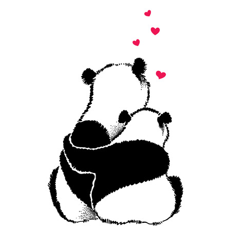 bearcat: Hand drawn illustration of panda couple in love