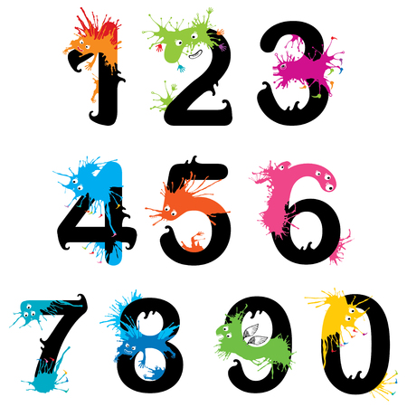 Design numbers set with funny monsters Illustration