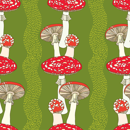 inedible: Seamless pattern with amanita and stripes. Poisonous red-cup Mushroom Illustration