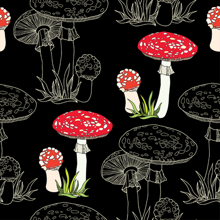 inedible: Seamless pattern with decorative amanita and grass on the black background