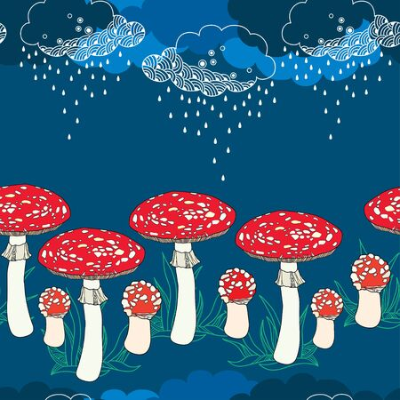 inedible: Seamless pattern with amanita mushrooms and rainy clouds