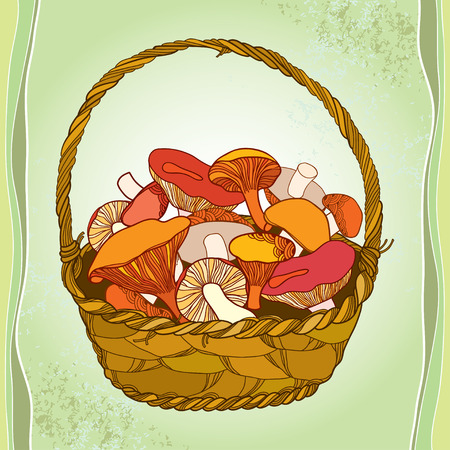 eukaryote: Wicker basket with mushrooms on the textured background Illustration