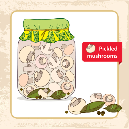 mycology: Pickled mushrooms in the glass jar with bay leaf and black pepper Illustration