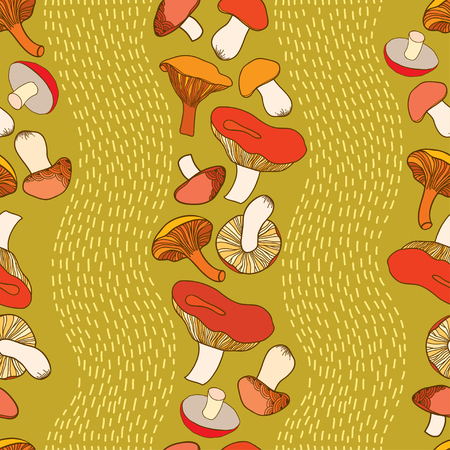 eukaryote: Seamless pattern with decorative mushrooms and stripes