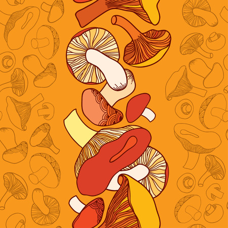 eukaryote: Seamless pattern with mushrooms on the orange background