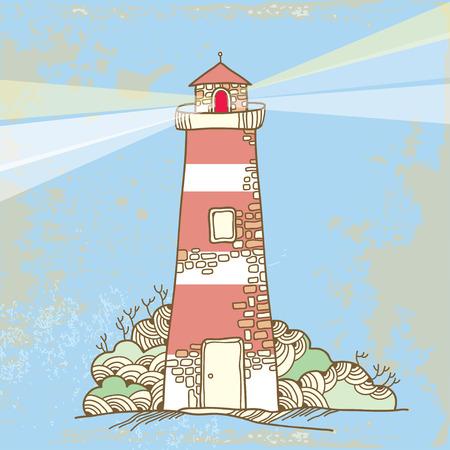 pharos: Lighthouse on a textured background Illustration