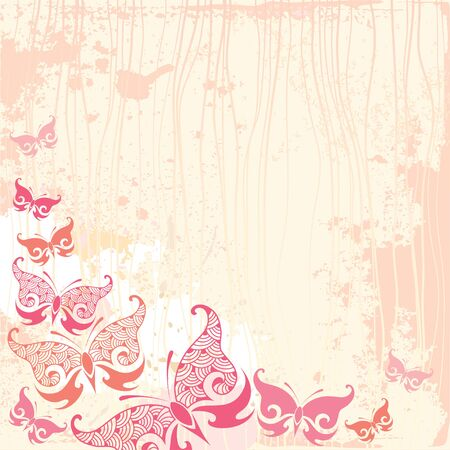 line drawings: Vintage background with butterfly in pink