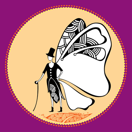 promenade: Butterfly gentleman with a cane for your design Illustration