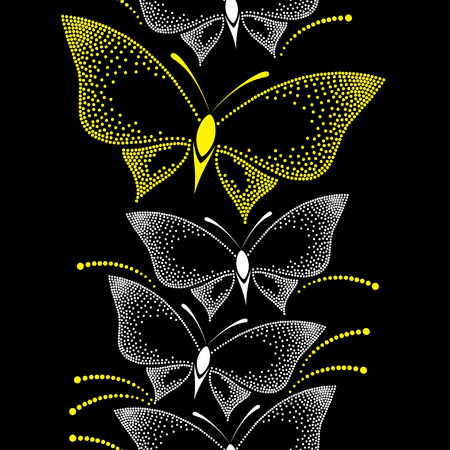 yellow butterflies: Seamless pattern with dotted white and yellow butterflies