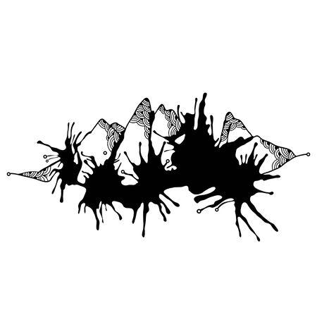 overlook: Abstract monochrome mountains