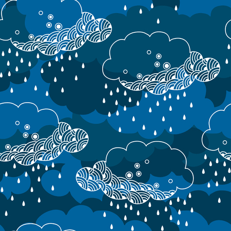 Seamless pattern with decorative rainy cloud  イラスト・ベクター素材