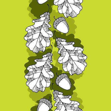 oak leaves: Seamless pattern with oak leaves and acorns Illustration
