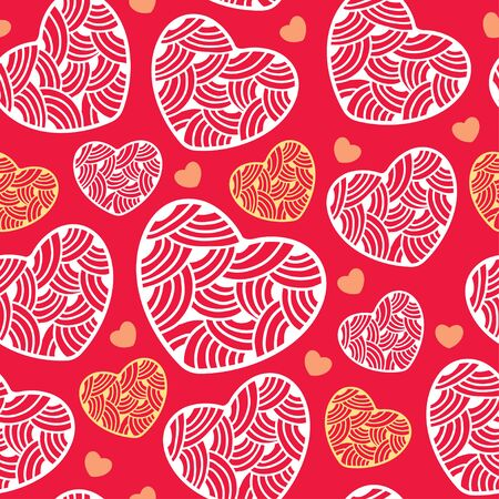 colorful heart: Seamless pattern with ornate hearts