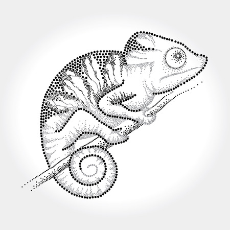 scaly: Dotted black Chameleon sitting on the branch Illustration