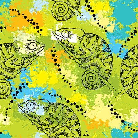 Seamless pattern with dotted black Chameleon  イラスト・ベクター素材