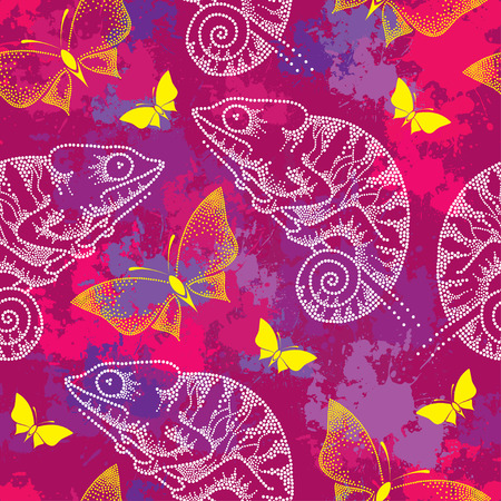 Seamless pattern with dotted white Chameleon and butterflies Illustration