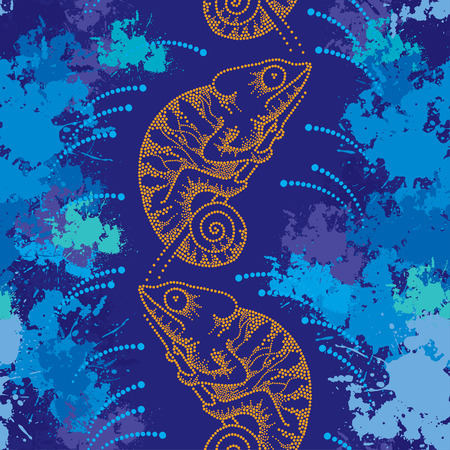 mimicry: Seamless pattern with dotted orange Chameleon and blots