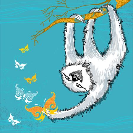sloth: Pereza con mariposas decorativas Vectores