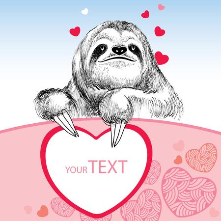 sloth: Sonreír pereza con el corazón para su diseño Vectores