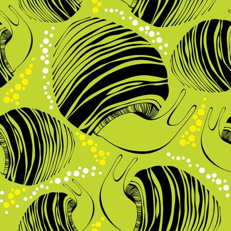 striated: Seamless pattern with black striped snails