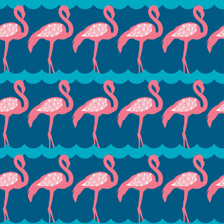 Elegance seamless pattern with pink flamingo  イラスト・ベクター素材