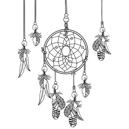 dragline: Decorative indian dream catcher Illustration