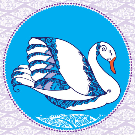 waterbird: White decorative swan and the ornamental background Illustration