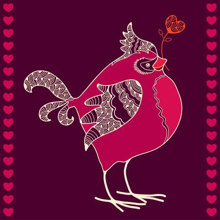 beak: Hand-drawn bullfinch with red heart in beak Illustration