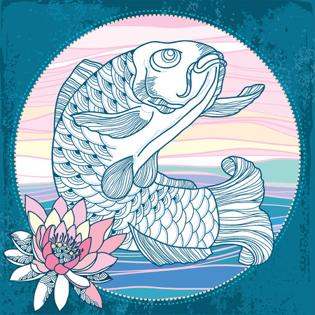 waterlily: Carp with pink waterlily in the round frame Illustration