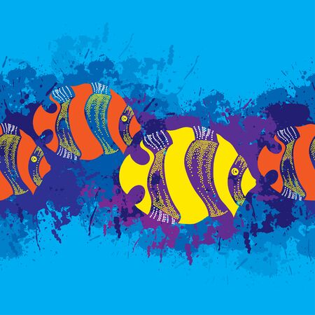 successively: Seamless pattern with dotted fish in yellow and in orange