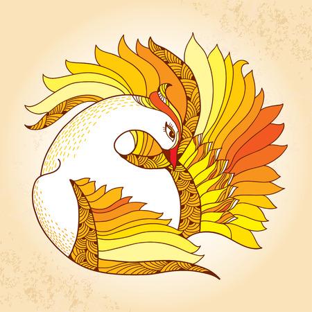 mythological: Mythological Firebird. Legendary bird with golden feathers. The series of mythological creatures