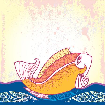 Mythological Goldfish floating on the waves. The series of mythological creatures Illustration