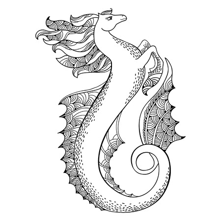 Mythological Hippocampus. Legendary sea horse. The series of mythological creatures Illustration