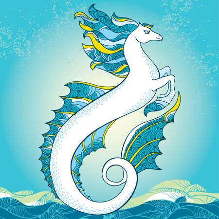 cr�atures: Mythological Hippocampus. The series of mythological creatures Illustration