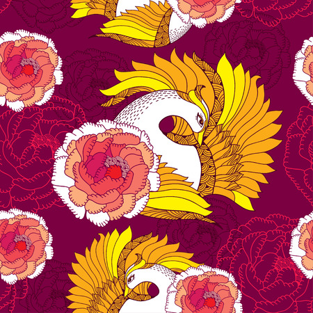 slavonic: Seamless pattern with Mythological Firebird and ornate chrysanthemums