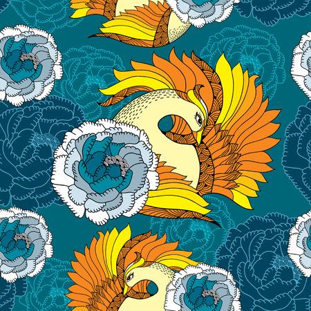 mythological: Seamless pattern with Mythological Firebird in orange and chrysanthemums.