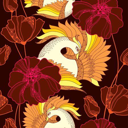 mythological: Seamless pattern with Mythological Firebird and ornate flowers. Illustration