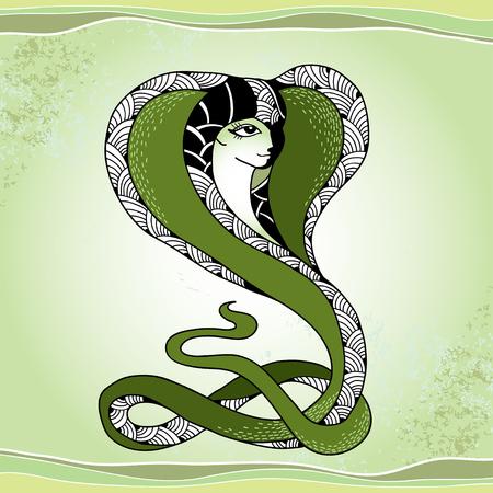 mythological: Mythological Snake with head of beautiful woman. The series of mythological creatures