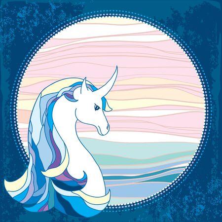 dobbin: Mythological Unicorn in the round frame. Legendary horse. The series of mythological creatures Illustration