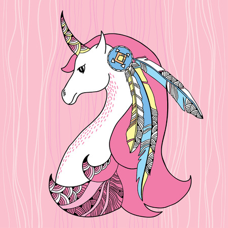 Mythological Unicorn with feathers. Legendary horse. The series of mythological creatures