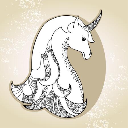 legendary: Mythological Unicorn on the beige background. Legendary horse. The series of mythological creatures
