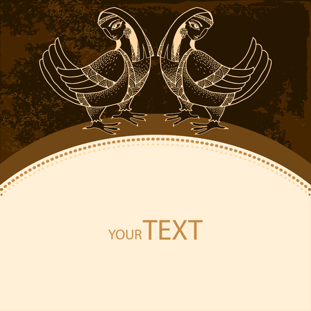 mythological: Card with Mythological Birds on a dark background. The series of mythological creatures