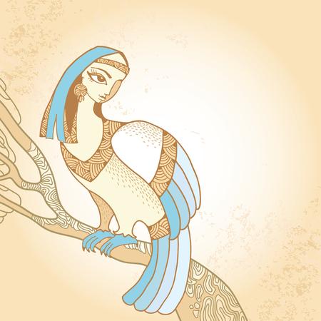 mythological: Mythological Bird sitting on the branch. The series of mythological creatures