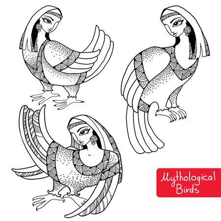mythological: Set of Mythological Birds with head of woman
