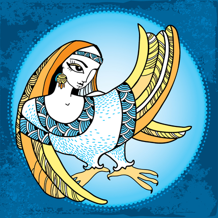 mythological: Mythological Bird with head of woman in the round frame. The series of mythological creatures