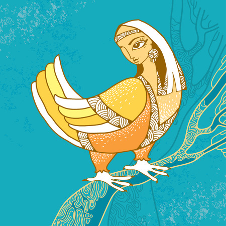 mythological: Mythological Bird with head of woman sitting on the branch. The series of mythological creatures